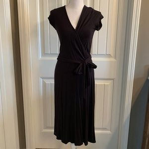 Black Wrap Dress with Ruffle Detail and Tie